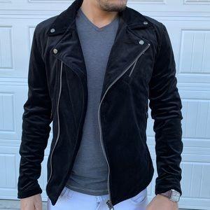 Zara Men Black Velour Moto Jacket